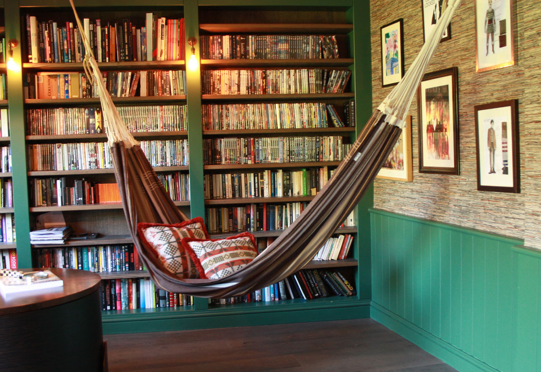 Unique interior design in West London study with hammock by Suzi Searle