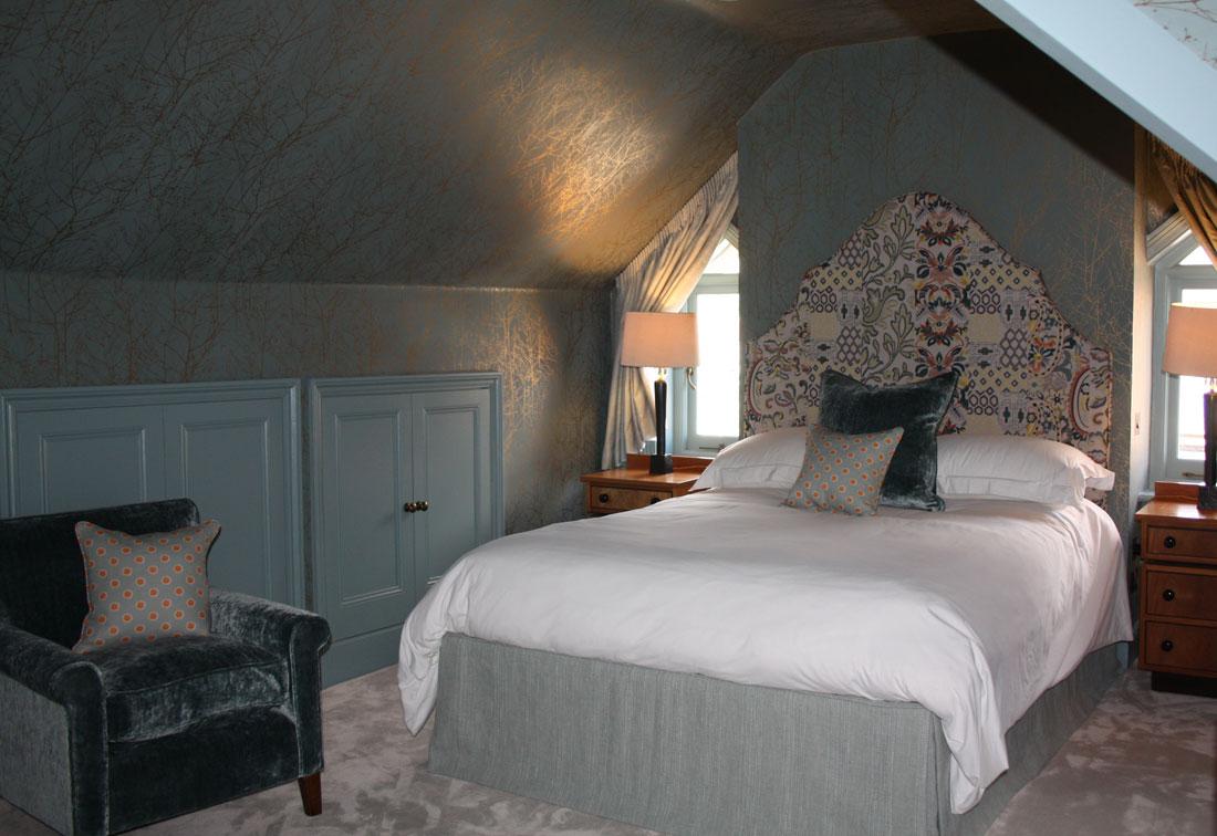Interior design bedroom West London - soft furnishings