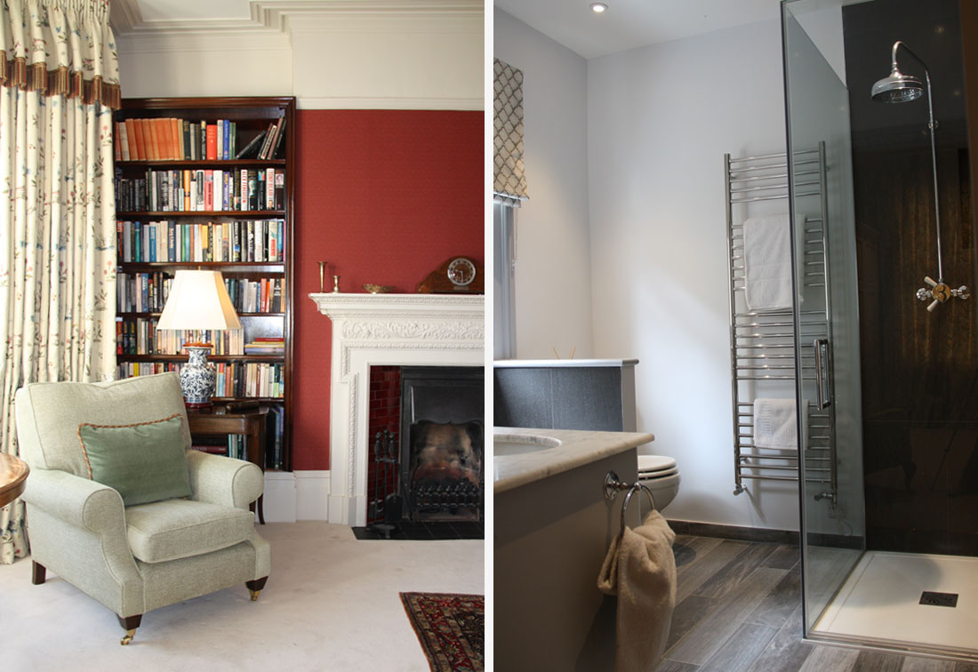 South West London interior sitting room and guest bathroom