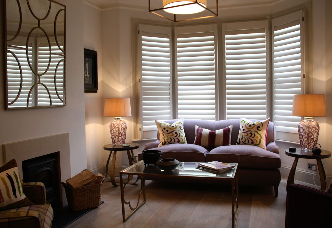 West Putney sitting room with cushions and blinds