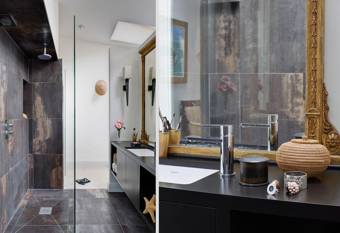 West London apartment's ensuite wet room and vanity unit