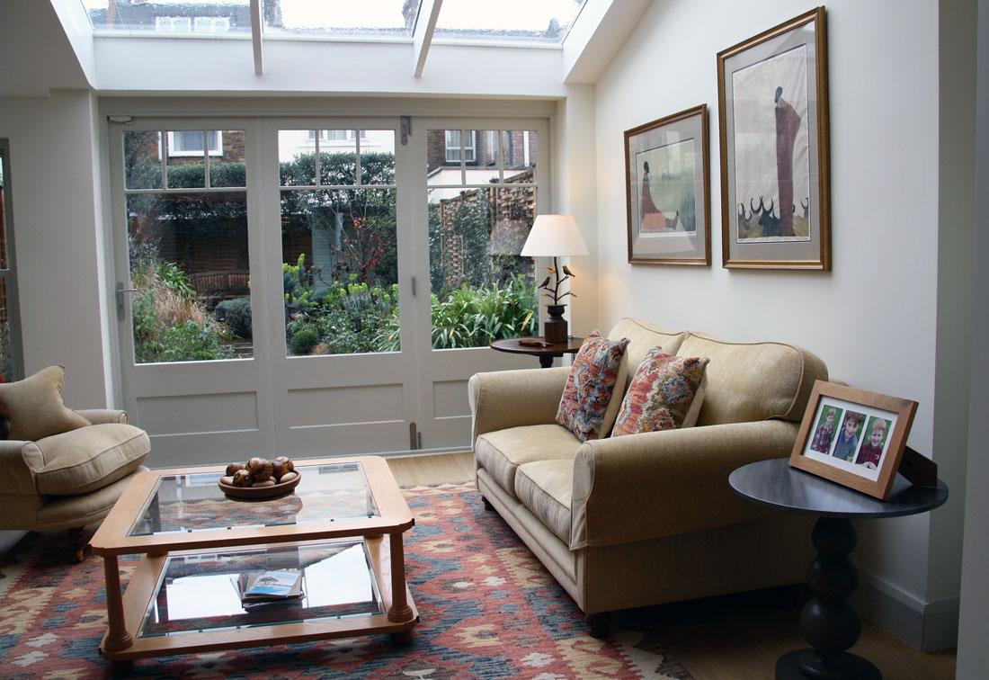 Interior design of sitting room in Fulham