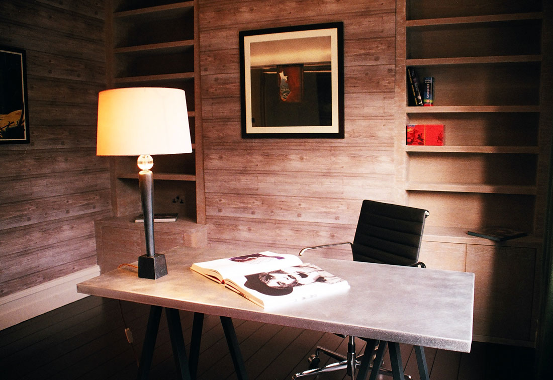 Wood panelled study interior design Richmond