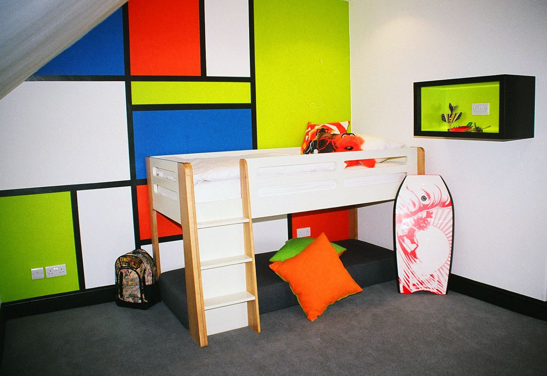 Vibrant and fun childrens bedroom interior design