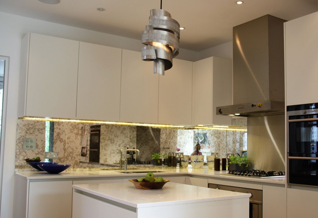 East Putney kitchen interior with bespoke metal lampshade