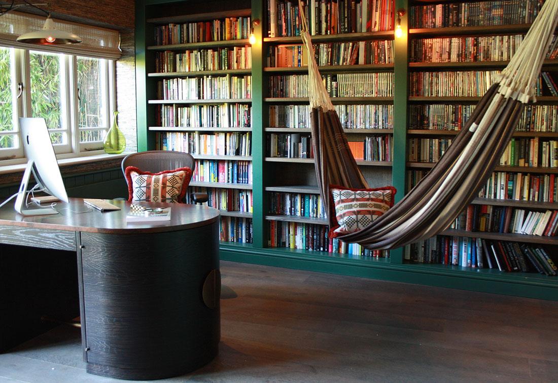 Unique interior design in West London study with hammock by Suzi Searle