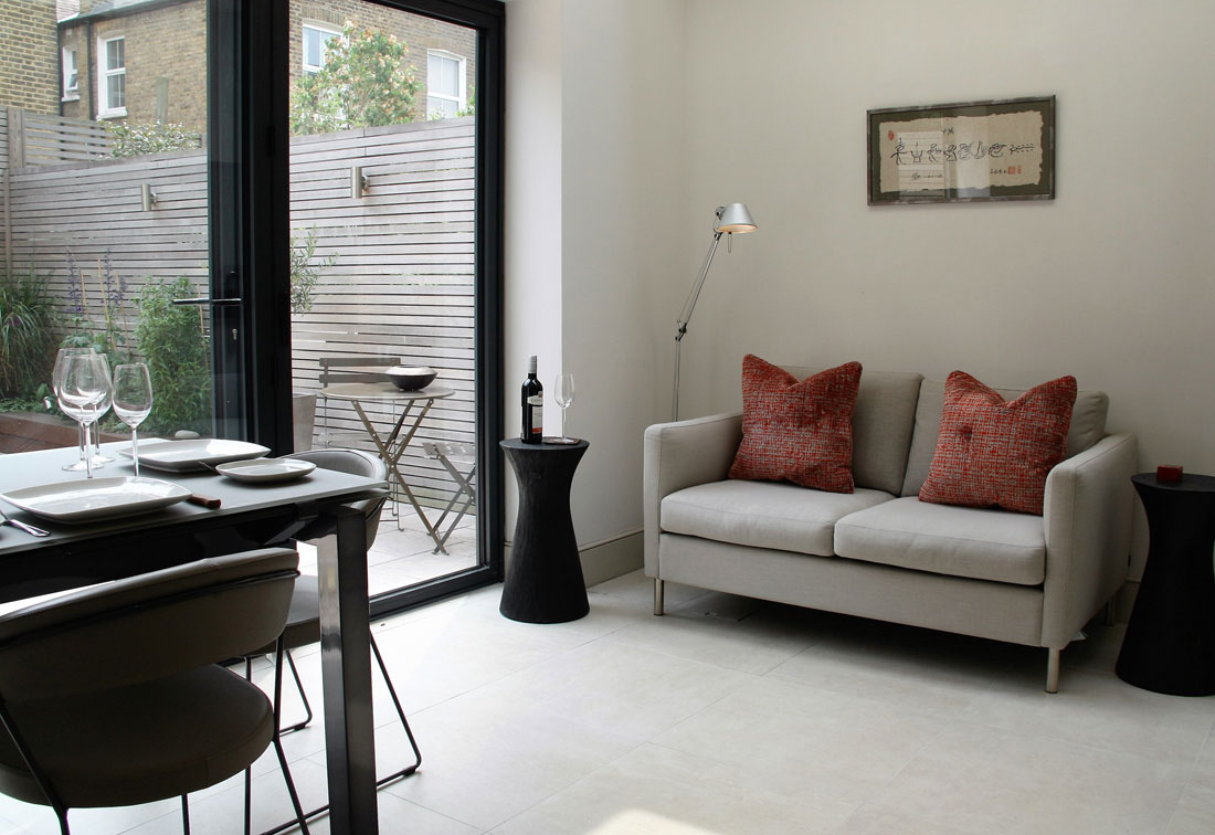 West Putney dining room and upholstered sofa