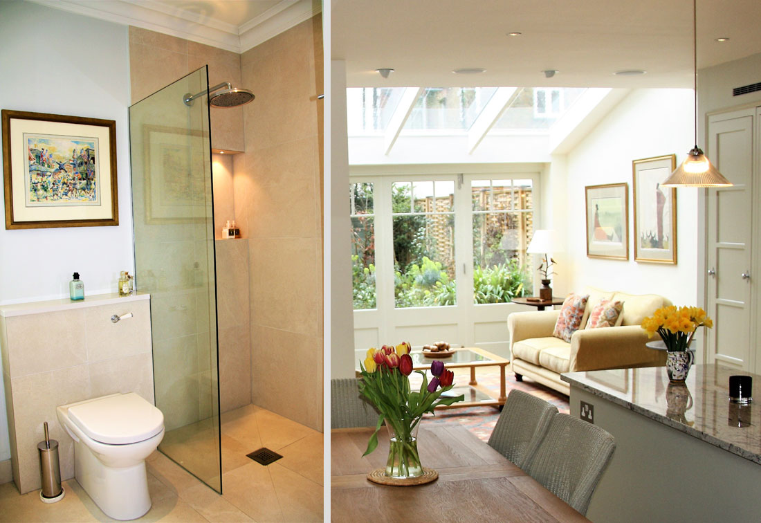 Bathroom and living room in Fulham