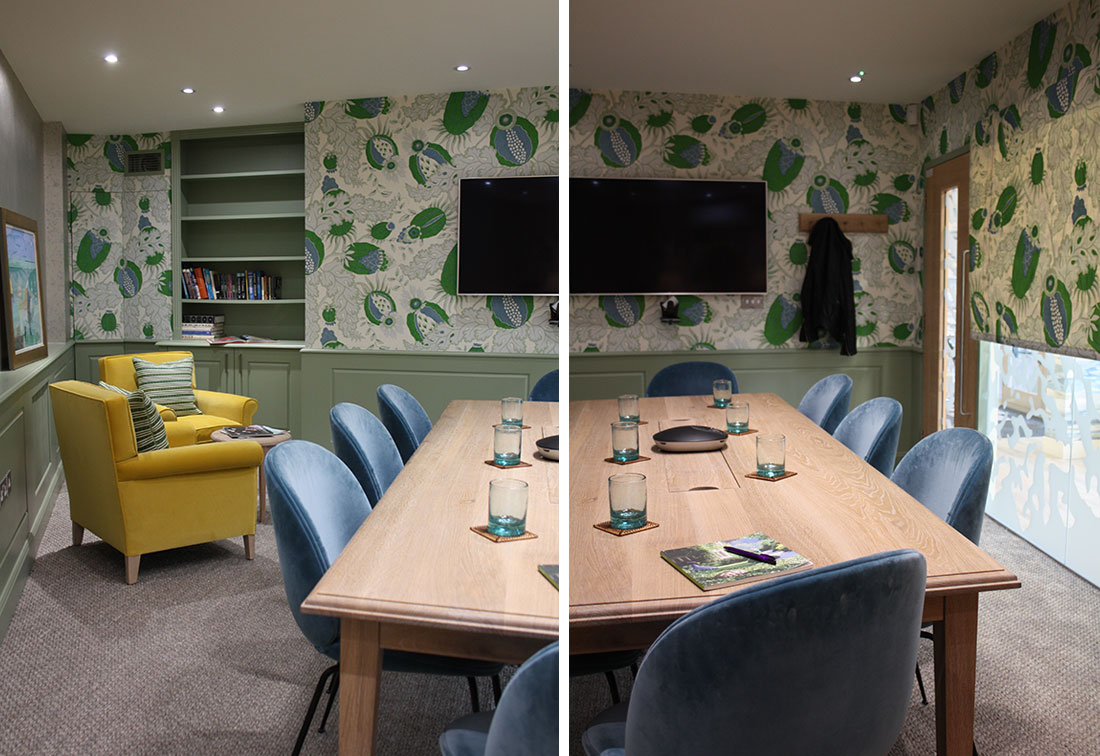 Bespoke interior design of meeting room in an office