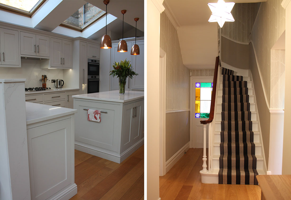 Bespoke interior design of kitchen and hallway in London